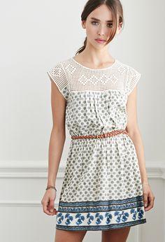Crochet-Trimmed Floral Babydoll Dress | Forever 21 - 2000095854