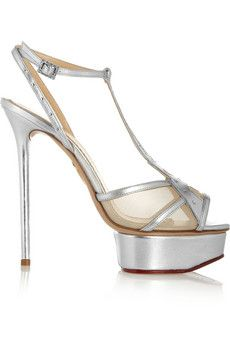 Charlotte Olympia Midnight in Paris metallic leather platform sandals   THE OUTNET