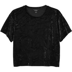 Monki Rei top (€25) ❤ liked on Polyvore featuring tops, t-shirts, shirts, black, black magic, t shirt, oversized crop top, velvet tees, velvet t shirt and oversized crop tee
