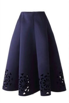 In this season, full skirt is a fashion style that you can't resist. Elastic badge waist and midi length for function or style, cut flowers design at hem make it a special one. It's mainly made from space cotton, can ensure your comfortable and warm day. Pairing lace-up heels and white shirt can ensure your pretty look.