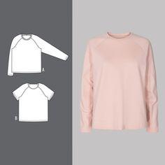 Raglan genser og t-skjorte Raglan T-shirt, Bell Sleeves, Bell Sleeve Top, Ruffle Blouse, Shirts, Tops, Fashion, Cute Stuffed Animals, Sew Dress