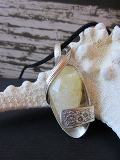 Crackled White Quartz Spoon Pendant by shabbychicsisters on Etsy