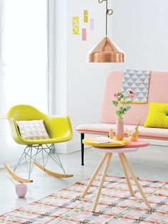 Love this color combo! Daily-Digs-Styling-with-Chartreuse-and-Blush-Pink