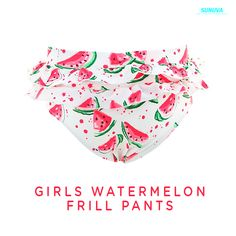 Girls Watermelon Frill Pants have luxurious fabric featuring our own bespoke print and conceals unsightly disposable swimwear in style. #sunuva