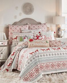 Levtex Home Silver Bells Luxury Quilt Quilt Bedding, Bedding Sets, Christmas Bedroom, Christmas Deer, Cabin Christmas, Christmas Crafts, Merry Christmas, Xmas, Colorful Bedding