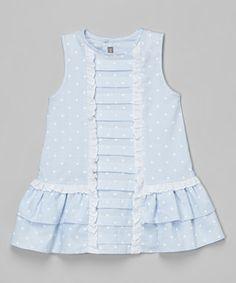 Blue Polka Dot Pleated Dress - Infant, Toddler & Girls