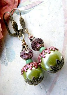 Dangle earrings Faberge antique look earrings by artemisartdesign, $13.00
