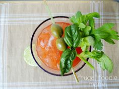 Basil & Garlic Bloody Mary via thefrugalfoodiemama.com- a classy twist on a game day staple #bloodymary #infusedvodka #cocktail