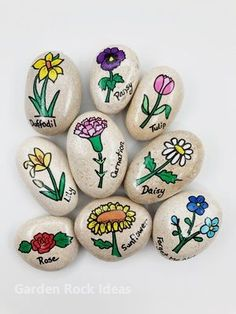 This set of 9 Flowers Story Stones helps teach the names of flowers. Can be used as garden markers o Garden Gifts, Diy Garden Decor, Garden Ideas, Garden Care, Story Stones, Flower Names, Rock Painting Designs, Garden Stones, Rocks Garden