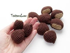 Chestnuts crocheted (1pcs+) - play kitchen - small Scullion - game in the kitchen - Seasons - Eco-friendly - Decoration - Ready to ship