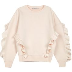 Stella McCartney Blush frill-trimmed neoprene sweatshirt (27.340 RUB) ❤ liked on Polyvore featuring tops, hoodies, sweatshirts, frill top, pink ruffle top, flutter-sleeve top, flounce tops and ruffle sweatshirt