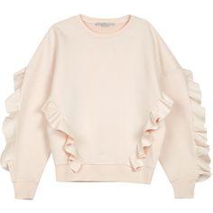 Stella McCartney Blush frill-trimmed neoprene sweatshirt found on Polyvore featuring tops, hoodies, sweatshirts, pink ruffle top, ruffle sweatshirt, flutter-sleeve top, stella mccartney and neoprene sweatshirt