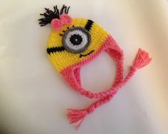 Despicable Me - Crochet Minion Hat for girls  @Leslie Lippi Lien Bailey -and make a blue one for charlie