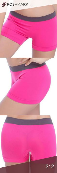 New - Hot pink yoga/dance/bicycle shorts Hot pink spandex shorts with elastic gray waistband. I have a pair and wear these regularly while doing yoga, pilates, etc - I love them! Who doesn't want cute work-out clothes?! Shorts