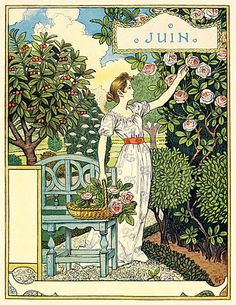 1896 illustration: La Belle Jardiniere - Juin 1896 by Eugene Grasset Art And Illustration, Belle Epoque, Alfons Mucha, Eugene Grasset, Design Art Nouveau, Davidson Galleries, Jugendstil Design, Vintage Calendar, Wood Engraving