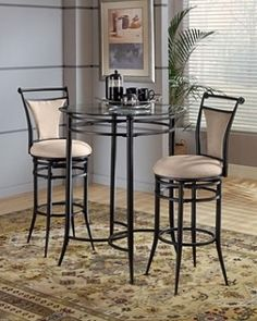 Challiman Round Dining Room Bar Table 4 Tall Stools