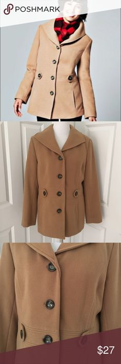 JM Collections peacoat Warm camel colored single breasted peacoat. Full product description in fourth photo. Generous sized medium- should fit a M/L. Worn twice. JM Collections Jackets & Coats Pea Coats