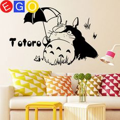 So cute!!!!Chinchilla umbrella TOTORO removable wall stickers for kids rooms nursery home decor living room bedroom decoration wall decals