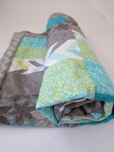 Turquoise and Gray Rectangle Baby Blanket by LovesLittleStitch
