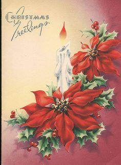 Vintage Christmas Paintings Greeting Card Ideas For 2019 Christmas Poinsettia, Christmas Flowers, Christmas Past, Christmas Greetings, Christmas Crafts, Christmas Decorations, Outdoor Christmas, Christmas Christmas, Vintage Christmas Images