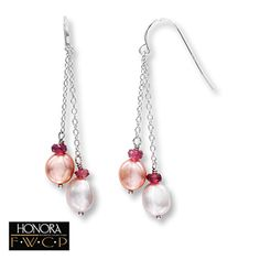 Cultured Pearl Earrings With Garnets Sterling Silver....Bridesmaid's gift