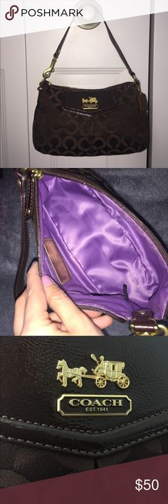 Small Dark Brown Coach Shoulder Bag Small dark brown coach shoulder bag. Gold detailing. Minimal staining inside..barely noticeable. Price negotiable, no trades. Coach Bags Shoulder Bags