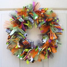 Halloween Wreath, Halloween Decoration, Ribbon Wreath and Fabric Door Wreath for Halloween Decor. $70.00, via Etsy.