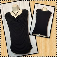 Cowl neck top  Flattering black sleeveless cowl neck top. Dress it up or pair it with jeans. 95% Rayon/5% Spandex. Excellent condition. Smoke free home. New York & Company Tops Blouses