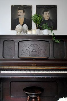 An Updated Living and Dining Room @ The Grower's Daughter - found relatives above the piano