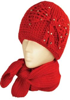 Womens 2-piece Knitted Beanie Scarf and Hat Set with Rhinetone Bow Accent ( 6 Colors )