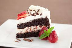 Double Chocolate Cake with Stabilized Kahlua Whipped Cream and Strawberries - Chew Out Loud