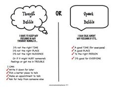 A great social skills activity - Thought bubble or speech bubble. Helps students use impulse control to decide which things they should say and which things should stay in their heads.