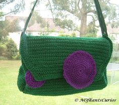 Tied to Wimbledon!  Crocheted and Quilted Handbag with Gent's Tie Strap £20.00