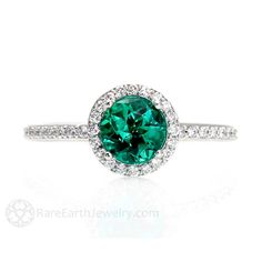 Emerald Ring Emerald Engagement Ring 14K Diamond Halo by RareEarth