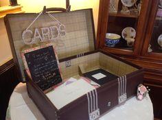 The retro suitcase looking after the Wedding cards at @shottlehall #spiritshighdj #shottlehall #retrosuitcase #weddingpostbox