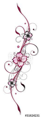 """Laden Sie den lizenzfreien Vektor """"Ranke, Kirschblüten, flora, Blumen, Blüten, cherry blossom"""" von christine krahl zum günstigen Preis auf Fotolia.com herunter. Stöbern Sie in unserer Bilddatenbank und finden Sie schnell das perfekte Stockbild für Ihr Marketing-Projekt!"""