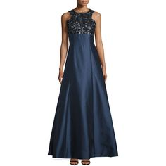 ML Monique Lhuillier Sleeveless Embellished-Bodice Ball Gown ($255) ❤ liked on Polyvore featuring dresses, gowns, navy, embellished gown, blue dress, blue ball gown, navy evening gown and navy blue ball gown