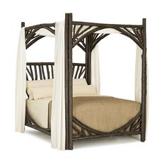 Rustic Canopy Bed Queen #4280 (shown in Ebony Finish) La Lune Collection
