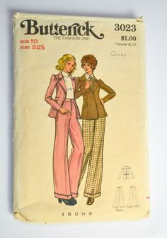 1970s Butterick Pattern 3023 Jacket and by KrisVintageClothing