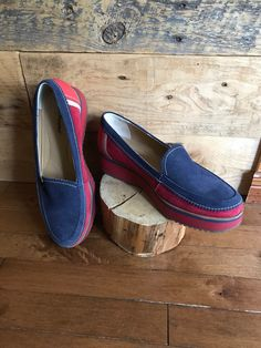 e521f3868ed4d4 Loafer - soulier femme - pompes vintage - Hush Puppies - collection special  - plate-forme - soulier semelles compensées - rouge - marine