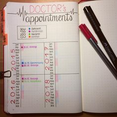 """""""I'm trying something new in my #bujo because I hate going to the doctor's... I mark the period of time I should have a medical checkup so that I don't…"""""""