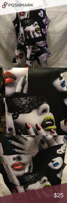 Peplum Glamour lipstick & nails colorful blouse! Plus size Glamour Girls fabulous! Tops Blouses