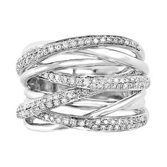 Shop our EFFY® ct. Diamond Criss Cross Ring in White Gold. Browse our rings at Helzberg Diamonds today! Yellow Engagement Rings, Vintage Engagement Rings, Emerald Jewelry, Diamond Jewelry, Jewelry Rings, Silver Jewelry, Boho Jewelry, Jewlery, Fine Jewelry