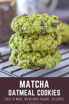 Chewy and flavorful, Matcha Chocolate Chip Cookies are the perfect guilt-free treat. These matcha cookies are loaded with OATS and made without refined sugars. So HEALTHY! ---- #healthy #healthycookies #healthyrecipes #cookies #cookierecipes #oatmeal #oatmealcookies #chocolate #chocolatechip #chocolatechipcookies #superfood #summer #snack #backtoschoolsnack #cookiesnacks #oatmealcookie #matchagreentea #matcha #chocolatechips Healthy Cookies, Healthy Dessert Recipes, Easy Desserts, Baking Recipes, Cookie Recipes, Delicious Desserts, Diabetic Recipes, Diabetic Desserts, Candy Recipes