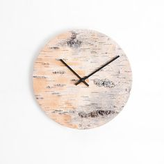 Materials: birch, birch bark, aluminium Dimensions: diameter thickness about Birch Forest, Birch Bark, Wax, Clock, Texture, Studio, Germany, Interiors, Unique