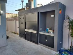 New Exterior House Decorations Garage 18 Ideas Parrilla Interior, Custom Bbq Pits, Modern Garage Doors, Outdoor Fireplace Designs, Exterior Doors With Glass, House Paint Color Combination, Patio Kitchen, Ranch House Plans, House Entrance