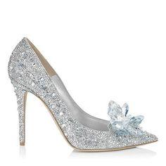 Jimmy Choo| Crystal covered pointy toe pump 'Cinderella Slipper'| via Jimmy Choo