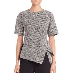 3.1 Phillip Lim Braided Jacquard Tee ($550) ❤ liked on Polyvore featuring tops, t-shirts, apparel & accessories, platinum, wrap top, asymmetrical t shirt, fringe top, short sleeve tee and red t shirt