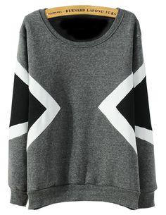 Geometric Print Loose Grey Sweatshirt 16.33