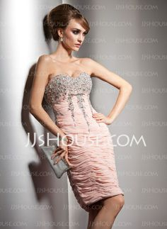 Cocktail Dresses - $149.99 - Sheath Sweetheart Knee-Length Chiffon Cocktail Dress With Ruffle Beading Sequins (016021188) http://jjshouse.com/Sheath-Sweetheart-Knee-Length-Chiffon-Cocktail-Dress-With-Ruffle-Beading-Sequins-016021188-g21188